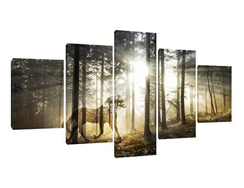 Artwork Horse - Yatsen Bridge Double Exposure Print Artwork Wall Art Decor for Homes 5 Panel Canvas Artistic Mystical Horse Fantasy Forest Picture Painting Modern Poster Decor for Indoor Ready to Hang(60''W x 32''H)