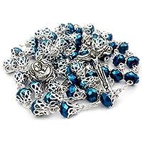 Tienda Nazareth Largo Rosario católico con cuentas Perlas de cristal azul profundo Collar de oración Medalla sagrada y bolsa de terciopelo cruzado