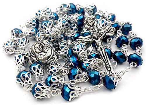- Nazareth Store Long Beaded Catholic Rosary Deep Blue Crystal Beads Prayer Necklace Holy Medal & Cross Velvet Bag