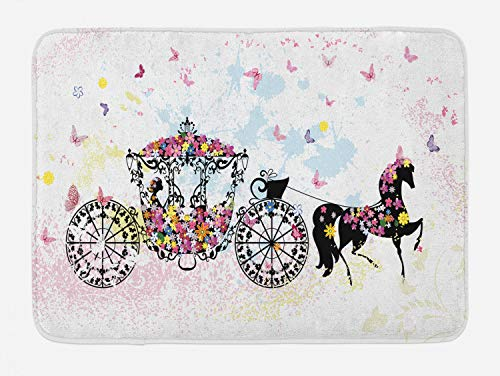 """Lunarable Cartoon Bath Mat, Vintage Floral Carriage Horse and Colorful Flowers Butterfly Print, Plush Bathroom Decor Mat with Non Slip Backing, 29.5"""" X 17.5"""", Multicolor"""