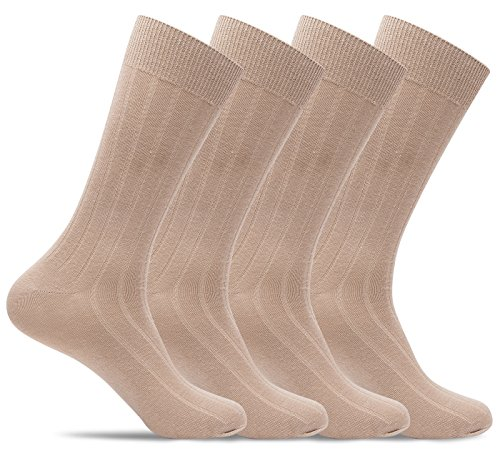 Mens 4 Pack of Light Cotton Blend Fun, Funky and Colorful Business Dress Socks (Shoe: 8-12 / Sock: 10-13, Tan Ribbed) (Dress Classic Sock Rib)