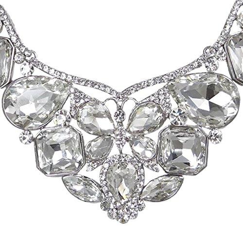 EVER FAITH® Mariage Ton d'Argent Fleur Papillon Goutte d'Eau Collier Boucle d'Oreilles Parures Cristal Autrichiens Clair N01915-1