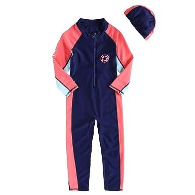 a40d6f7f84 Gogokids Girls Boys Long Sleeve Swimsuits Kids Rash Guard One Piece  Swimming Costume UV 50+ Sun Protection with Swim Cap 2-7 Years: Amazon.co.uk:  Clothing