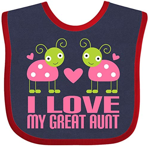 - Inktastic - I Love My Great Aunt ladybugs Baby Bib Navy and Red 1939c