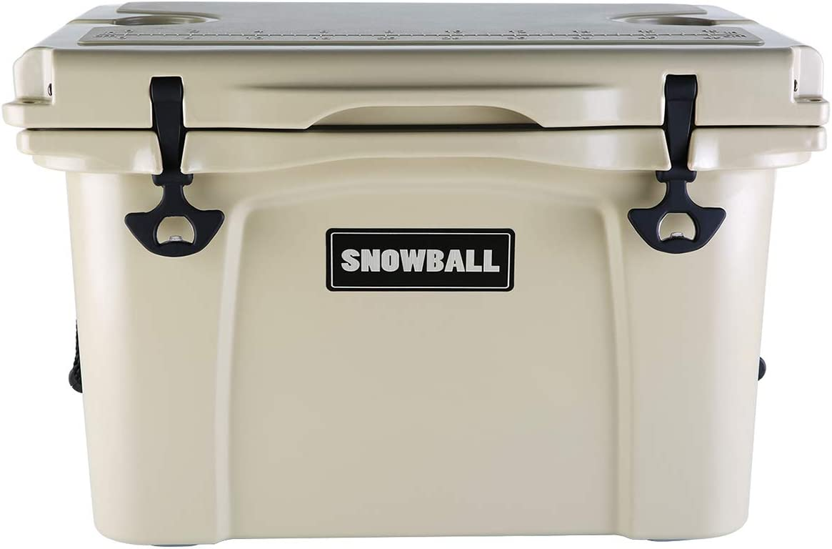 Snowball Coolers, Rotomolded Insulation Ice Chest for Camping, Fishing, Hunting, BBQs Outdoor Activities, Tan, 37QT 35L