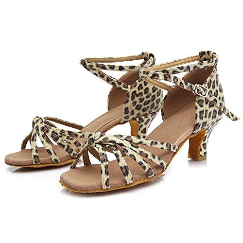 5CM para Altura Mujer 7CM Satén Modelo HIPPOSEUS Latino ES217 5cm del Baile Leopardo de Zapatillas Tacón vIqxw04n