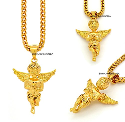 THE-18K-GOLD-FINISH-PRAYING-HANDS-ANGEL-FLYING-CHERUB-PENDANT-242628-FRANCO-CHAIN-NECKLACE