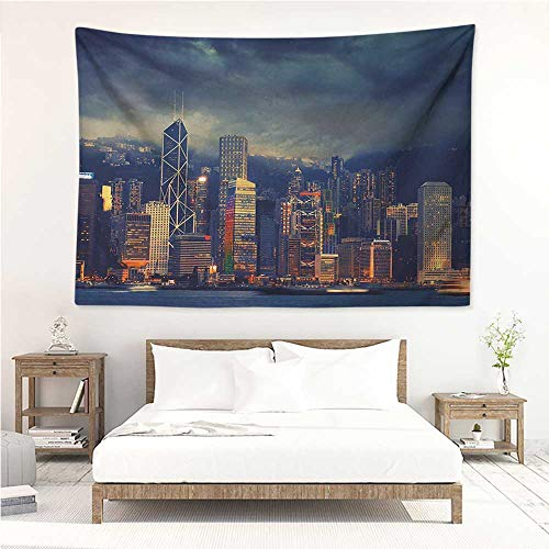alisos Cityscape,Wall Decor Tapestry Hong Kong Cityscape Stormy Weather Dark Cloudy Sky Waterfront Port Dramatic View 60W x 51L inch Tapestry Wallpaper Home Decor Multicolor
