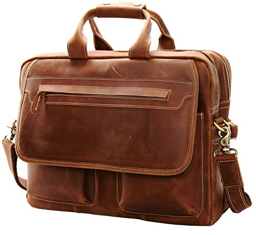 Iswee Leather Vintage Briefcase Messenger Bag for Men 14'' or 16'' or 17'' Laptop Case Satchel Bag for Everyday Use (Large Light Brown) by Iswee