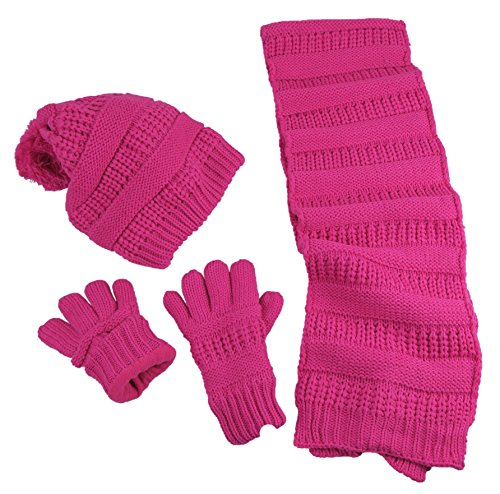 9-13 Years Solid Cable Knit Hat/Scarf/Glove Accessory Set (9-13 Years, Fuchsia) ()