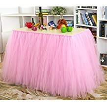 Tutu Table Skirt Tulle Table Cover for Baby Girls Princess Birthday Party Wedding Christmas Decorations (Pink)