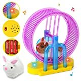 Aobiny Children Toys,Electronic Toys, Pet Toys,Cute Hamster Rabbit Sport Wheel LED Light Music Children's Electronic Pet Toy - for Safe & Fun Role Play for Kids Baby (A)