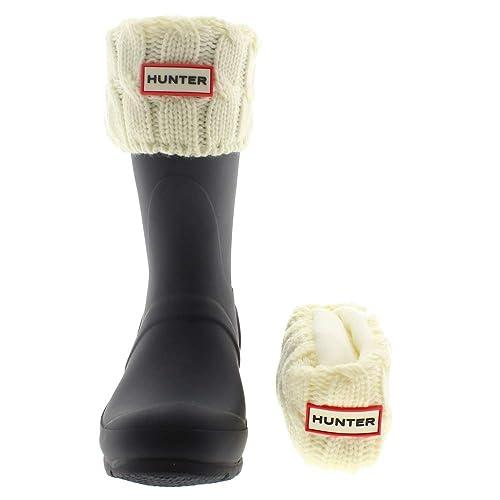Hunter Calcetines Botines Lluvia 6 Stitch Cable Beig: Amazon.es: Zapatos y complementos