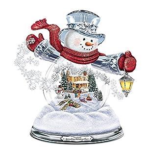 Thomas Kinkade Snowglobe Snowman with Lighted Scene Plays 8 Holiday Carols by The Bradford Exchange