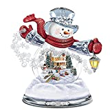 Thomas Kinkade Snowglobe Snowman with Lighted Scene Plays 8 Holiday Carols by The Bradford Exchange