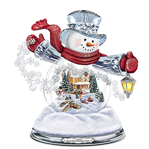 Bradford Exchange Thomas Kinkade Snowglobe Snowman with Lighted Scene Plays 8 Holiday Carols by The