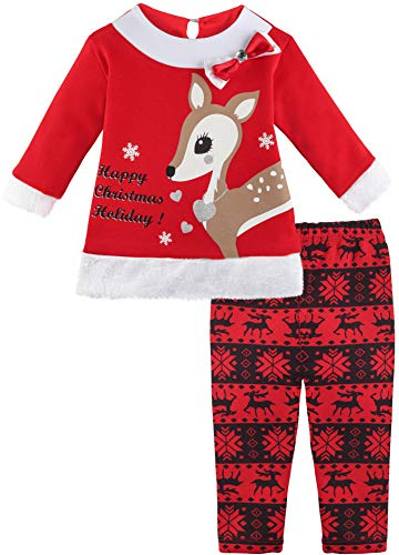 Lilax Baby Girl Christmas Holiday Reindeer Outfit Two Piece Set 9M Red]()