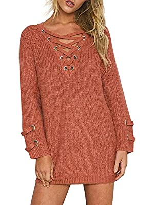 Simplee Apparel Women's Long Sleeve Lace up Knit Pullover Sweater Dress