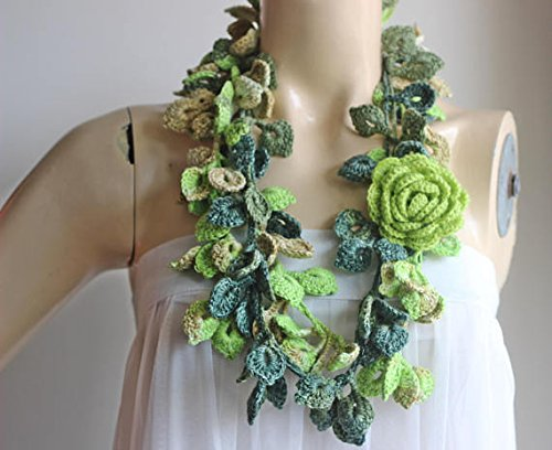 Green Crochet Scarf-Leaves Necklace Scarf-Multicolor Lariat Scarf-Necklace Lariat Scarf-Shades of Green Scarf-Vegan Scarf-2 pieces (2 Piece Lariat)