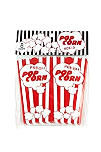 Brite Concepts Set of 8 Retro-Style Red and White Cardboard Popcorn Boxes