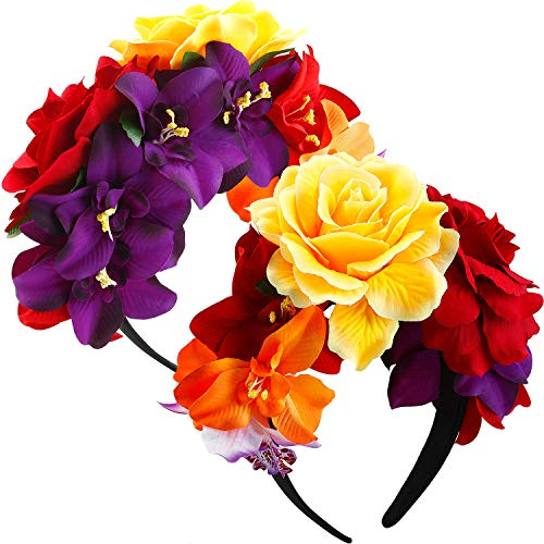2 Pack Day of The Dead Headband Mexican Flower Crown Floral Hair band Garland for Cinco de Mayo party, Frida Kahlo Halloween Costume, Wedding, Dead and Fiesta Themed Party (Mexican Festival Crown)