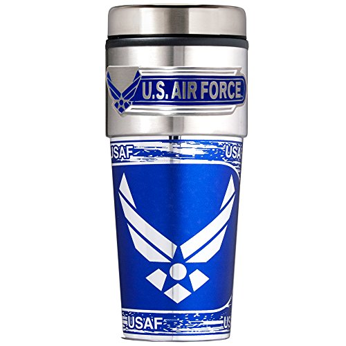 Air Force Metallic Travel Tumbler, 16-Ounce, Silver
