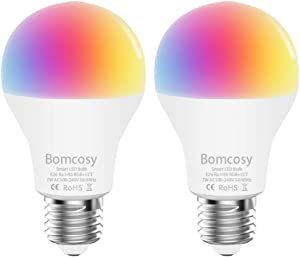 Smart Light Bulb RGB CCT WiFi Led Bulb E26 A19 7W 600LM Dimmable Multicolored Lights Compatible with Alexa and Google Home No Hub Required 60W Equivalent 2 Pack