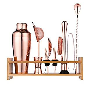 Jillmo Pro Martini Bartender Kit Copper Coated Stainless Steel Bar Set with Bamboo Stand - 19 oz Parisian Gold Cocktail Shaker with Bar Accessories …
