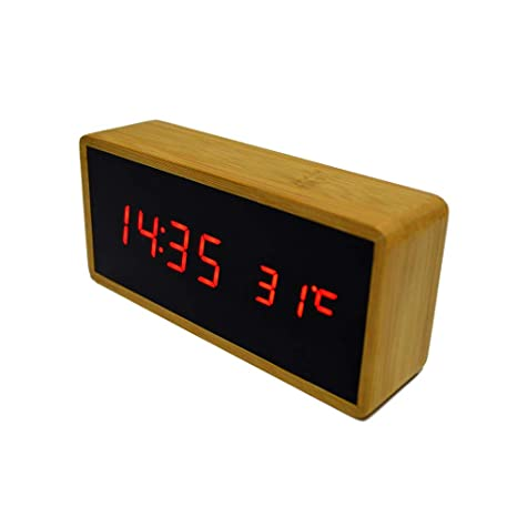 4ade4662060 Relógio Despertador Mesa Digital Tipo Madeira Com Sound Control 1299 ...