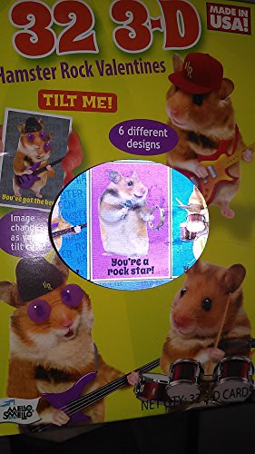 Hamster Rock 32 3-D Valentine Classroom Trading Cards With Stickers & Includes A Teachers Card