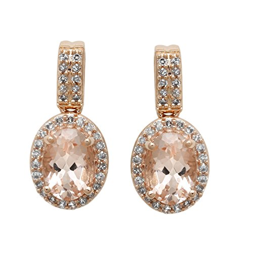 Jewelili 10K Rose Gold Morganite Oval With White Diamonds Dangle -