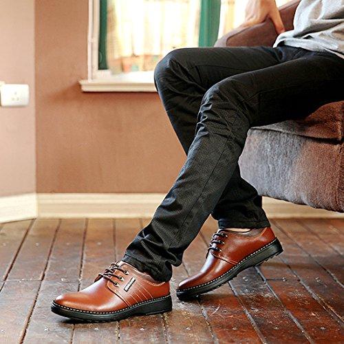 Mens Syntetiskt Läder Spets-up Oxfords Skor Finskor Formella Läderskor Tillfälliga Klassiska Brogues Blå