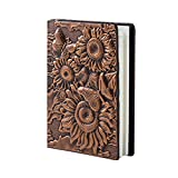 Embossed Sunflower Leather Notebook A5 Retro Travel Journal to Write in,Lined Beige Paper,100 Sheets,Personal Diary Journal Notebook Copper