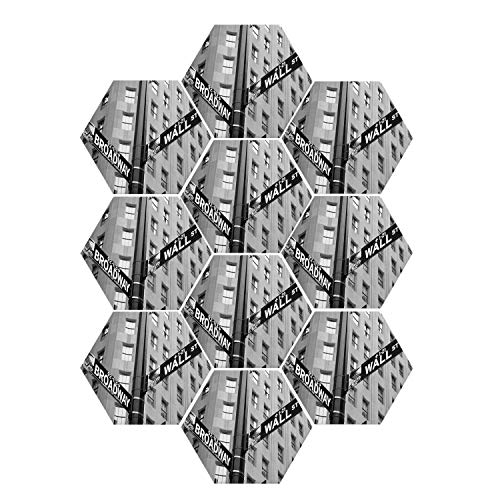 """YOLIYANA NYC Decor Durable Hexagon Ceramic Tile Stickers,Street Signs of Intersection of Wall Street and Broadway Finance Art Destinations Photo for Living Room Kitchen,9"""" W x 7.8"""" H"""