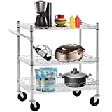 Heavy Duty Utility Cart Wire 3 Tier Rolling Cart Organizer NSFKitchenCart on Wheels Metal Serving Cart Commercial Grade with Wire Shelving Liners and Handle Bar for Kitchen Office Hardware,Chrome