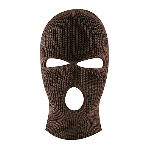 Knit Sew Acrylic Outdoor Full Face Cover Thermal Ski Mask by Super Z Outlet, Brown, One Size Fits Most