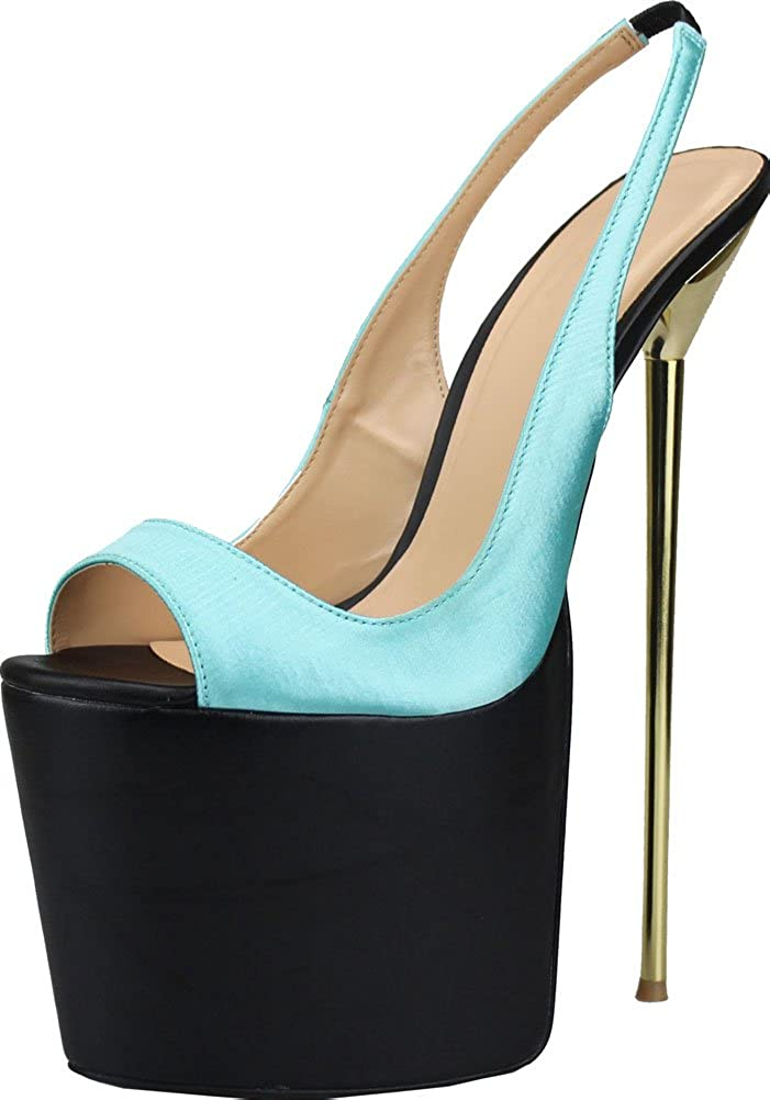 bluee Vimedea Womens Sexy Supper Heeled Pumps Party Cross Dressing Oversize Platform Sandals