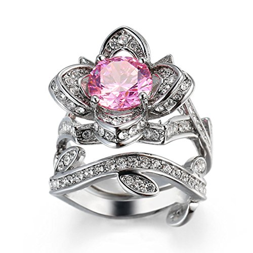 Lovely Flower Rings with Pink Cubic Zirconia Wrap Around Women's Eternity Rings Bands Size 8 Rose Shape