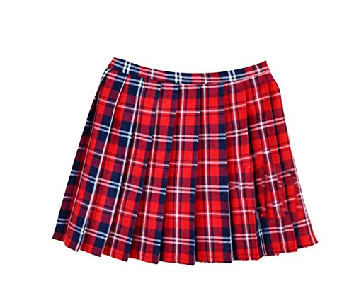Women School Uniforms plaid Pleated Mini Skirt, Waist(80cm/31.5inch) 2XL, Bright Red