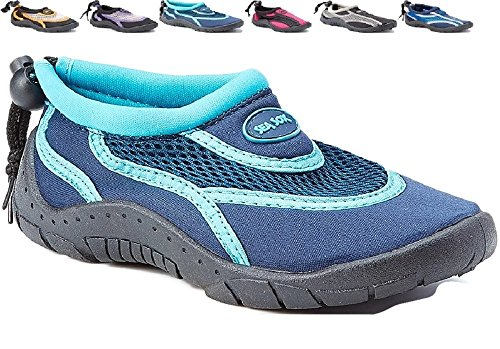 Heavy Duty Footwear (Children's Kids Water Shoes Aqua Socks Beach Pool Yoga Exercise Navy/Aqua Toddler 8)