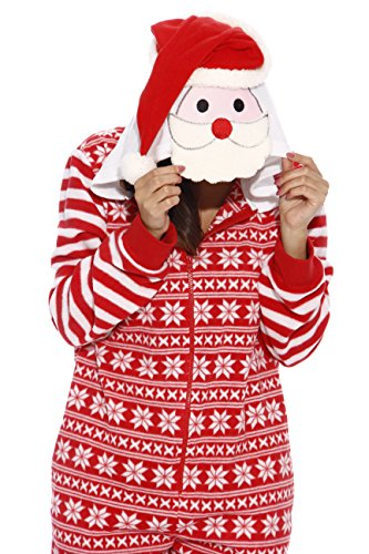 Just Love Adult Onesie Red and White Snowflake Santa Pajamas