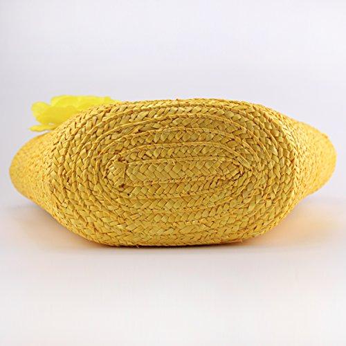 ACMEDE Shopping Handbag Woven Flower Beach Straw Summer Yellow Handbag Army Bag Women Green CUfwqrCHx