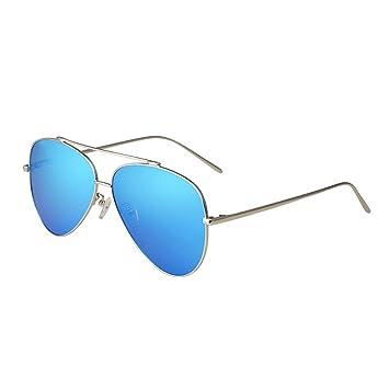 Gafas Gafas de sol polarizadas azules unisex Marco anti-UV del acero inoxidable