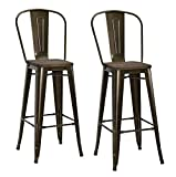 DHP Luxor Metal Counter Stool with Wood Seat and Backrest, Set of two, 30'', Antique Bronze