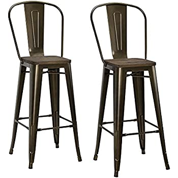 Amazon Com Dhp Luxor Metal Counter Stool With Wood Seat