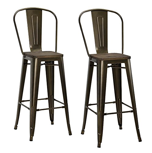 Finish Wood Bar Bronze Stool (DHP Luxor Metal Counter Stool with Wood Seat and Backrest, Set of two, 30