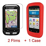For Garmin Edge 1000 Case, Lamshaw Silicone Case with Tempered Glass Screen Protector (2 pack) for Garmin Edge 1000 (case+ screen protector) (Red)