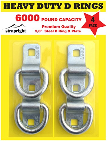 D Rings - Heavy Duty 4 Pack 6000 Pound Breaking Strength. Super Strong Forged Steel, Surface Mounted for Tying Down Motorbikes, ATV's, Golf Carts.