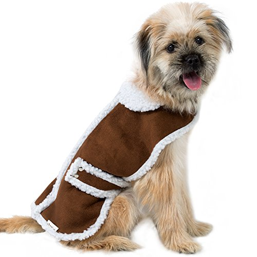 EocuSun Pet Clothes for Dogs Winter Coat Cat Dog Vest Warm Jacket Apparel Shearling Fleece Cold Weather Coats for Medium Large Dogs Cats Puppy with Furry Collar by, Brown L by EocuSun (Image #7)