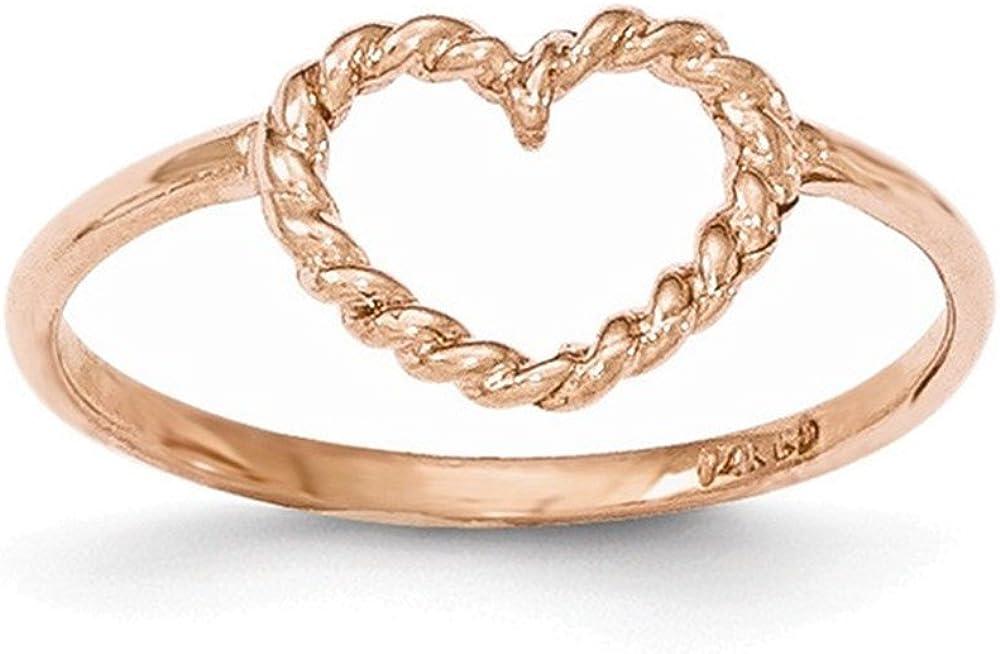 14k Rose Gold Polished /& Textured Heart Ring